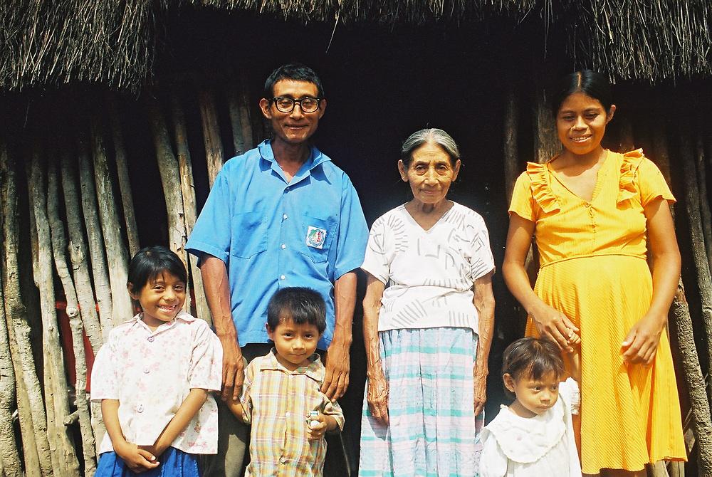 A Maya Chortí family at home in the Copán region of Honduras