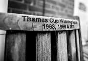 Henley. Berks, United Kingdom. <br /> <br /> Slightly curved bench set in the Leander Club grounds, celebrating the three Leander Club victories, 1968,1969 and 1971 at Henley Royal Regatta, Thames Cup2017 Henley' Women's Regatta. Rowing on, Henley Reach. River Thames. <br /> <br /> <br /> Sunday  18/06/2017<br /> <br /> <br /> [Mandatory Credit Peter SPURRIER/Intersport Images]
