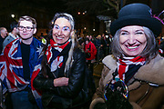February 1, 2020, London, England, United Kingdom: Pro-Brexit supporters celebrate in London on Jan. 31, 2020 - as the UK leaves the European Union with 51. 9% of the UK population that voted to leave the EU in a referendum in June 2016. (Credit Image: © Vedat Xhymshiti/ZUMA Wire)