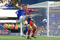 Photo: Ashley Pickering.<br /> Ipswich Town v Crystal Palace. Coca Cola Championship. 26/08/2007.<br /> Jonathan Waters of Ipswich (blue) tries to get around the Palace defence