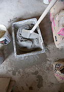 making of cement in a small plastic container