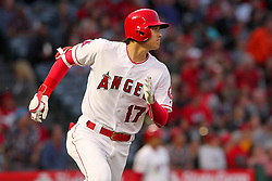 May 18, 2018 - Anaheim, CA, U.S. - ANAHEIM, CA - MAY 18: Shohei Ohtani (17) of the Angels hustles to second base for a double during the major league baseball game between the Tampa Bay Rays and the Los Angeles Angels on May 18, 2018 at Angel Stadium of Anaheim in Anaheim, California. (Photo by Cliff Welch/Icon Sportswire) (Credit Image: © Cliff Welch/Icon SMI via ZUMA Press)
