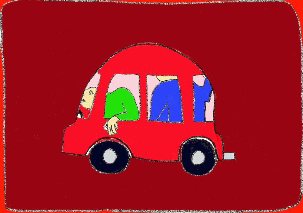 Driebergen, 16  febr  2009.illustratie, tekening met computer inkleuring met de crisis als thema..de auto wordt steeds kleiner voor het miljeu en de portemonai.. Foto: (c) Renee Teunis