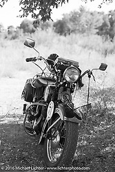 Dan Kraft's Harley-Davidson VL parked while the guys were skinny dipping during Stage 15 (244 miles) of the Motorcycle Cannonball Cross-Country Endurance Run, which on this day ran from Lewiston, Idaho to Yakima, WA, USA. Saturday, September 20, 2014.  Photography ©2014 Michael Lichter.