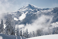 Mount Baker 10,778 ft (3,285 m) in winter seen from Artists point of heather Meadows Recreation Area, North Cascades Washington USA