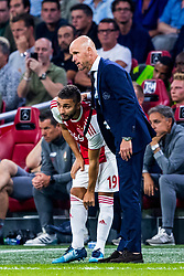 14-08-2018 NED: Champions League AFC Ajax - Standard de Liege, Amsterdam<br /> Third Qualifying Round,  3-0 victory Ajax during the UEFA Champions League match between Ajax v Standard Luik at the Johan Cruijff Arena / Coach Erik ten Hag of Ajax, Zakaria Labyad #19 of Ajax
