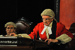 """© Licensed to London News Pictures. 20/10/2017. London, UK. Patrick Godfrey as Mr Justice Wainwright.  Photocall for """"Witness for the Prosecution"""", by Agatha Christie, directed by Lucy Bailey, at London County Hall.  The play opens 23 October. Photo credit : Stephen Chung/LNP"""