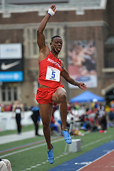 April 27, 2018 - Philadelphia, Pennsylvania, U.S - ANTWAN DICKERSON (5) from Houston competes in the Long Jump Championships during the meet held in Franklin Field in Philadelphia, Pennsylvania. (Credit Image: © Amy Sanderson via ZUMA Wire)