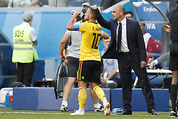 Eden Hazard of Belgium, Belgium coach Roberto Martinez during the 2018 FIFA World Cup Play-off for third place match between Belgium and England at the Saint Petersburg Stadium on June 26, 2018 in Saint Petersburg, Russia