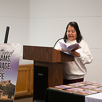 """Dorothy Harjo, a local author who write under the name Dee Thompson reads from her book """"Shattered Dreams, Bondage and Hope"""" at the Octavia Fellin Public Library Saturday afternoon."""