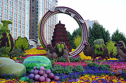 May 14, 2019 - Beijing, Beijing, China - Beijing, CHINA-Streets are docorated with ornamental flower parterres for the upcoming Conference on Dialogue of Asian Civilizations in Beijing, China. (Credit Image: © SIPA Asia via ZUMA Wire)