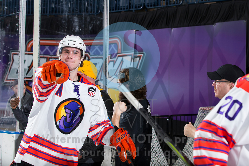 The Youngstown Phantoms defeat Team USA NTDP 6-5 in overtime at the Covelli Centre on January 11, 2020.<br /> <br /> Aiden Gallacher, defenseman, 2