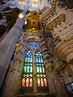 BARCELONA, SPAIN - CIRCA MAY 2018: Interior of La Sagrada Familia, a famous Cathedral in Barcelona designed by Antoni Gaudi. View of the interior columns.