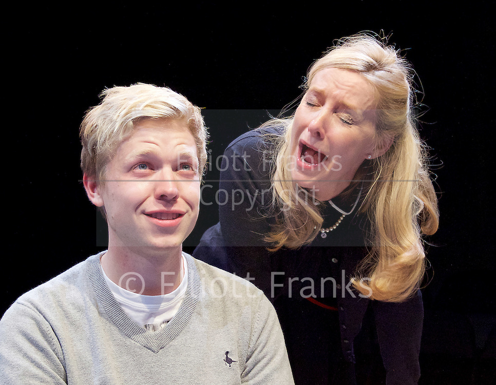 Positive<br /> by Shaun Kitchener <br /> at Park Theatre, Park 90, Finsbury Park, London , Great Britain <br /> 8th July 2015 <br /> press photocall<br /> <br /> directed by Harry Burton <br /> <br /> Timothy George as Benji <br /> <br /> Sally George as Margo <br /> <br /> <br /> <br /> Photograph by Elliott Franks <br /> Image licensed to Elliott Franks Photography Services