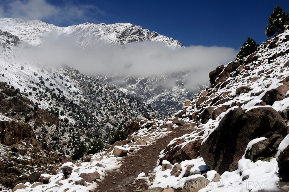 Morocco. High Atlas Mountains covered with snow.