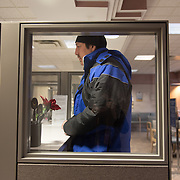 Date: 2/6/15<br /> Desk: SCI<br /> Slug: SUPER UTILIZERS<br /> Assign Id: 30170556A<br /> <br /> Prugh Jose, a homeless man who is a client of the Hennepin Health RESOURCE Chemical and Mental Health emergency department in reach program in Minneapolis (Hennepin County), Minnesota makes a follow-up dental appointment after having a decayed tooth extracted at the Hennepin County Medical Center's Dental & Oral Surgery Clinic on February 6, 2015. <br /> <br /> Photo by Angela Jimenez for The New York Times <br /> photographer contact 917-586-0916