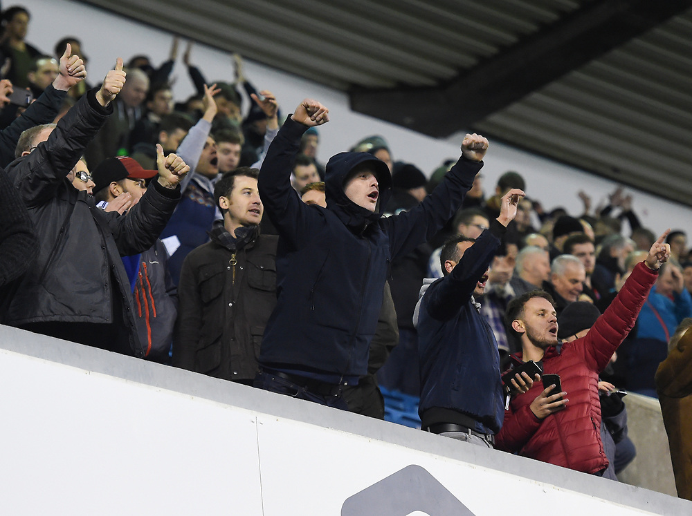 Preston's supporters cheering <br /> <br /> Photographer Jon Hobley/CameraSport<br /> <br /> The EFL Sky Bet Championship - Millwall v Preston North End - Saturday 13th January 2018 - The Den - London<br /> <br /> World Copyright © 2018 CameraSport. All rights reserved. 43 Linden Ave. Countesthorpe. Leicester. England. LE8 5PG - Tel: +44 (0) 116 277 4147 - admin@camerasport.com - www.camerasport.com