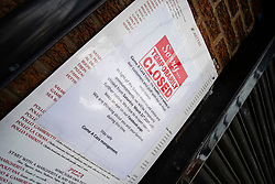Signs of the Corona Virus, Come A Cassa Italian Resteraunt Chapeltown Sheffield<br /> 21 March 2020<br /> <br /> www.pauldaviddrabble.co.uk<br /> All Images Copyright Paul David Drabble - <br /> All rights Reserved - <br /> Moral Rights Asserted -