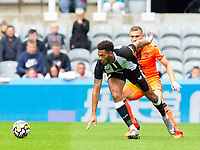 Football - 2021 / 2022 - Pre-Season Friendly - Newcastle United vs Norwich City - St James Park - Saturday 7th August 2021<br /> <br /> Joelinton of Newcastle United vies with Ben Gibson of Norwich City<br /> <br /> Credit: COLORSPORT/Bruce White