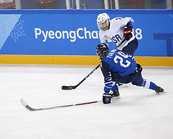 February 11, 2018 - Pyeongchang, KOREA - United States forward Monique Lamoureux-Morando (7) and Finland forward Noora Tulus (24) during the women's hockey group A play during the Pyeongchang 2018 Olympic Winter Games at Kwandong Hockey Centre. The USA beat Finland 3-1. (Credit Image: © David McIntyre via ZUMA Wire)