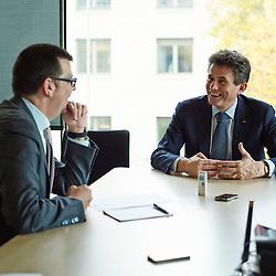 PARIS, FRANCE. NOVEMBER 7, 2013. Henri de Castries, AXA's CEO, being interviewed by Pascal Ihle, journalist at the Handelszeitung (Switzerland). Photo: Antoine Doyen