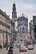 Oporto, December 2012, Clerigos church.Front and tower. Nicolau Nasoni 1732 - 1750 on baroque style. Tower from 1754 - 1763, 75.6 meters. Symbol of Oporto. Oporto downtown is UNESCO World Heritage Site
