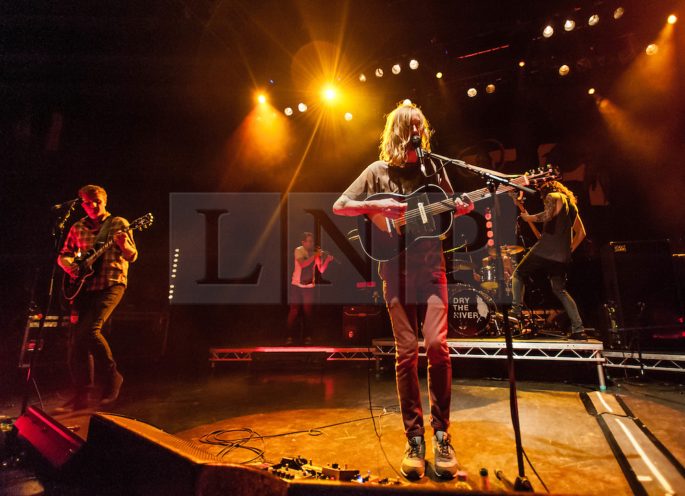 © Licensed to London News Pictures. 01/11/2012. London, UK.   Dry the River performing live at O2 Shepherds Bush Empire. Dry the River are an English folk rock band formed in East London, 2009.  The band consists of Peter Liddle (guitar, tenor horn, lead vocals), Matthew Taylor  (guitar, keys, vocals), Scott Miller (bass, percussion, vocals), Jon Warren (drums, percussion), Will Harvey (keys, violin, viola, mandolin).   Photo credit : Richard Isaac/LNP