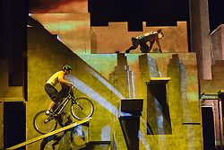 """© Licensed to London News Pictures. 30/09/2013. London, England. Pictured: Thibaut Philippe on the Trial Bike. The 15 performers from the Canadian troupe Cirque Éloize perform their show """"iD"""" at London's Peacock Theatre from 1 to 19 October 2013. """"iD"""" is a blend of circus arts and urban dance. Photo credit: Bettina Strenske/LNP"""