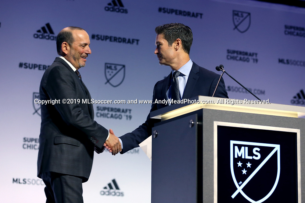 CHICAGO, IL - JANUARY 11: MLS commissioner Don Garber (left) and executive vice president of communications Dan Courtemanche (right). The MLS SuperDraft 2019 presented by adidas was held on January 11, 2019 at McCormick Place in Chicago, IL.