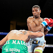 Cesar Francis punches Gonzalo Dallera during a One For All Promotions boxing event at the Caribe Royale Orlando Events Center on Saturday, February 20, 2021 in Orlando, Florida. (Alex Menendez via AP)