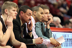 29 December 2014:  Nate Des Jardins, Mike Kindhart, Jestion Anderson, Adam Notteboom during an NCAA non-conference interdivisional exhibition game between the Quincy University Hawks and the Illinois State University Redbirds at Redbird Arena in Normal Illinois.