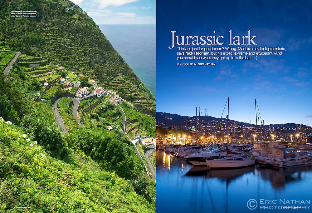 Tear sheet from a commissioned assignment I undertook to Madeira, Portugal for Sunday Times Travel Magazine (UK).