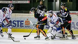 11.01.2017, Messestadion, Dornbirn, AUT, EBEL, Dornbirner Eishockey Club vs Fehervar AV 19, 42. Runde, im Bild v. l. Philip Siutz, (Dornbirner Eishockey Club, #14), Branca Orban, (Feherva AV19, #10) und Stefan Haeußle, (Dornbirner Eishockey Club, #92) // during the Erste Bank Icehockey League 42th round match between Dornbirner Eishockey Club and Fehervar AV 19 at the Messestadion in Dornbirn, Austria on 2017/01/11, EXPA Pictures © 2017, PhotoCredit: EXPA/ Peter Rinderer