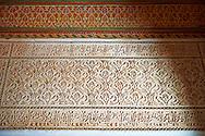 Berber Arabesque Mocarabe plasterwork.The Petite Court, Bahia Palace, Marrakesh, Morroco
