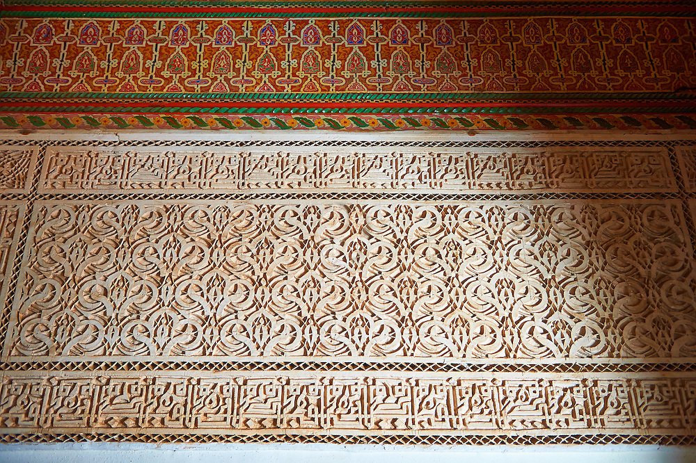 Berber Arabesque Mocarabe plasterwork.The Petite Court, Bahia Palace, Marrakesh, Morroco .<br /> <br /> Visit our MOROCCO HISTORIC PLAXES PHOTO COLLECTIONS for more   photos  to download or buy as prints https://funkystock.photoshelter.com/gallery-collection/Morocco-Pictures-Photos-and-Images/C0000ds6t1_cvhPo<br /> .<br /> <br /> Visit our ISLAMIC HISTORICAL PLACES PHOTO COLLECTIONS for more photos to download or buy as wall art prints https://funkystock.photoshelter.com/gallery-collection/Islam-Islamic-Historic-Places-Architecture-Pictures-Images-of/C0000n7SGOHt9XWI