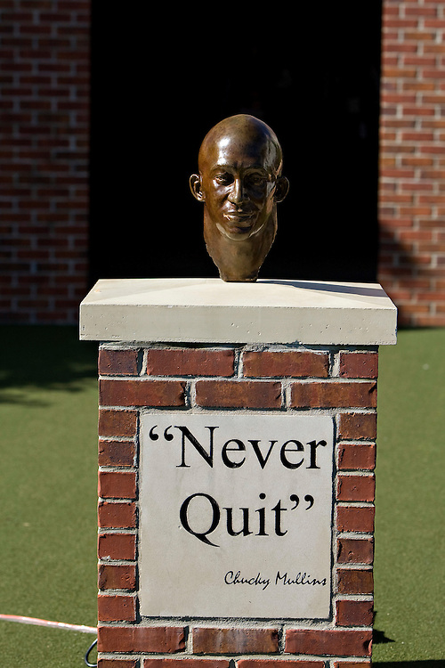OXFORD, MS - OCTOBER 24:   Bust of Chucky Mullins outside the locker room of the Ole Miss Rebels before a game against the Arkansas Razorbacks at Vaught-Hemingway Stadium on October 24, 2009 in Oxford, Mississippi.  The Rebels defeated the Razorbacks 30 to 17.  (Photo by Wesley Hitt/Getty Images) *** Local Caption ***