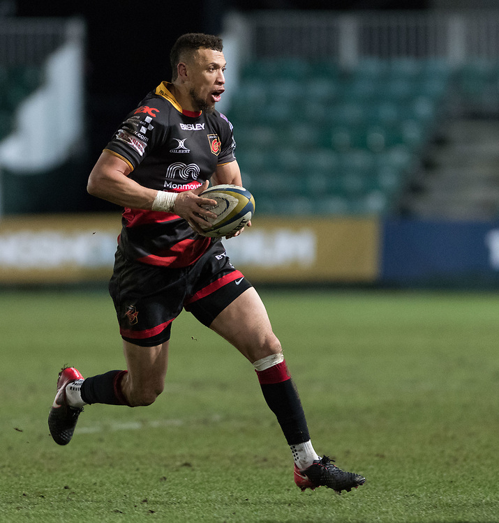 Dragons' Zane Kirchner attacks with ball in hand.<br /> <br /> Photographer Simon Latham/Replay Images<br /> <br /> Anglo-Welsh Cup Round Round 4 - Dragons v Worcester Warriors - Friday 2nd February 2018 - Rodney Parade - Newport<br /> <br /> World Copyright © Replay Images . All rights reserved. info@replayimages.co.uk - http://replayimages.co.uk