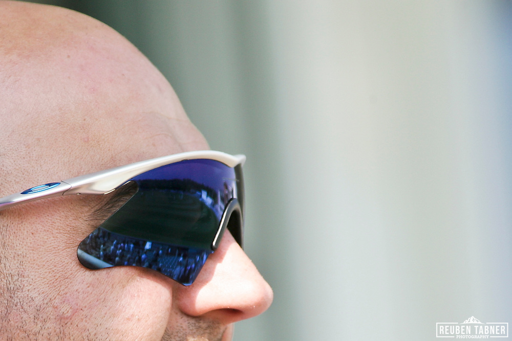 ©Reuben Tabner. 20/04/2011..Durham CCC v Sussex CCC.LV= County Championship.The playing field is reflected in a fan's mirrored Oakley sun glasses..Photo credit should read Reuben Tabner