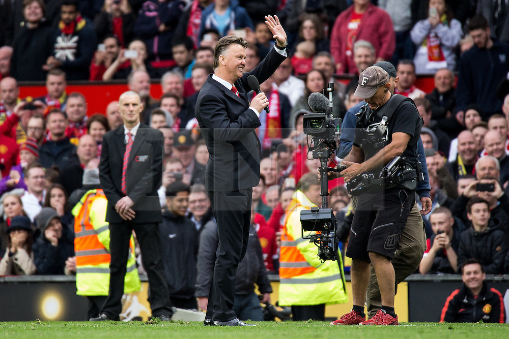 © Licensed to London News Pictures . 17/05/2015 .  Old Trafford , Manchester , UK . Manchester United manager Louis van Gaal addresses fans after the match . Manchester Utd vs Arsenal at Old Trafford Football Stadium , Manchester . Photo credit : Joel Goodman/LNP