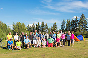 GASP 2015 cyclists gather at Macklin Lake Regional Park campground for group photo at start of tour, Macklin, Saskatchewan, near the Alberta border.