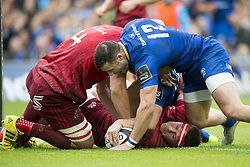 October 7, 2017 - Dublin, Ireland - Rory O'Loughlin of Leinster scores a try during the warm-up during the Guinness PRO14 match between Leinster Rugby and Munster Rugby at Aviva Stadium in Dublin, Ieland on October 7, 2017  (Credit Image: © Andrew Surma/NurPhoto via ZUMA Press)