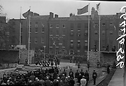 11/04/1966<br /> 04/11/1966<br /> 11 April 1966<br /> 1916 Jubilee Commemorations- Opening and Blessing Ceremony at the Garden of Remembrance, Parnell Square, Dublin. Image shows President Eamon de Valera entering the garden. On right is a television camera and in background is Conrad na Gaeilge.