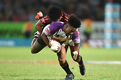 Cape Town-180416 UNW player AK Nela tackled by Duncan Saal of Stellenbosch (Matties)  in a Varsity Cup final played at Dani Craven stadium in Sellenbosch .photographer:Phando Jikelo/African News Agency/ANA