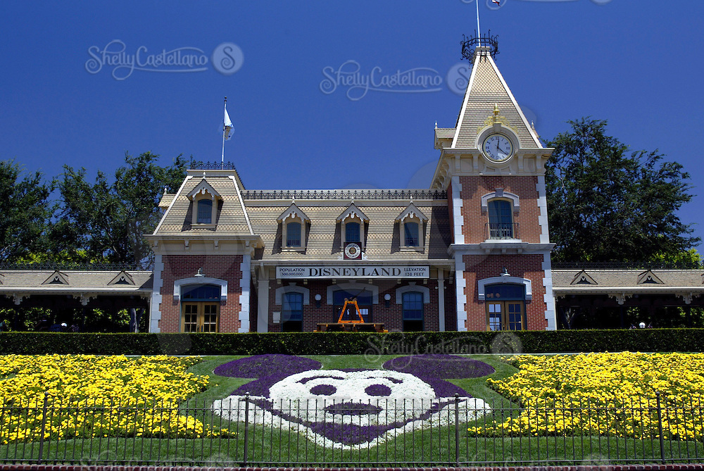 Jul 11, 2004; Anaheim, CA, USA; Disneyland Railroad & Mickey Mouse character flower bed inside the main enterance inside the Disneyland Resort Theme Park in Orange County getting ready for an 18 month 50th Anniversary celebration of Disney magic world wide.   Theme Park in Southern California during the day.