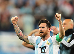 SAINT PETERSBURG, June 26, 2018  Lionel Messi of Argentina celebrates victory after the 2018 FIFA World Cup Group D match between Nigeria and Argentina in Saint Petersburg, Russia, June 26, 2018. Argentina won 2-1 and advanced to the round of 16. (Credit Image: © Yang Lei/Xinhua via ZUMA Wire)