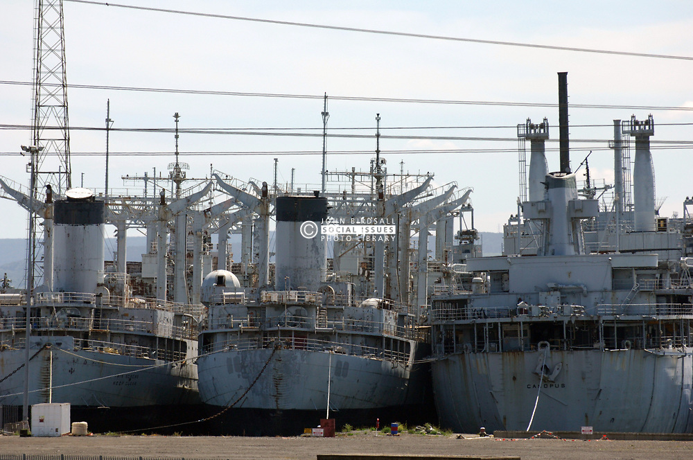 4 US naval ships docked in breakers yard run by Able UK for decommissioning; Tyneside, Ships due to be broken up but still intact; 2005 UK
