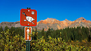 Trail sign on the Galloping Goose Trail, Uncompahgre National Forest, Colorado USA (MR)