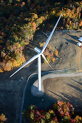 Colebrook South Wind Project. BNE Energy, Owner and The Ryan Company, Contractor. Aerial View from Helicopter. 15 October 2015. Showing a single structure of two on site.