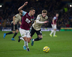 Ashley Westwood of Burnley (L) and Brandon Williams of Manchester United in action - Mandatory by-line: Jack Phillips/JMP - 28/12/2019 - FOOTBALL - Turf Moor - Burnley, England - Burnley v Manchester United - English Premier League