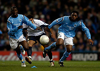 Photo: Jed Wee.<br /> Manchester City v West Ham United. The FA Cup. 20/03/2006.<br /> <br /> Manchester City's Bradley Wright-Phillips (L) and Kiki Musampa (R) combine to keep out West Ham's Hayden Mullins.